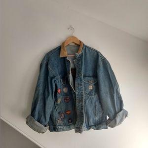 AVIREX Vintage Denim Flight Jacket with Patches